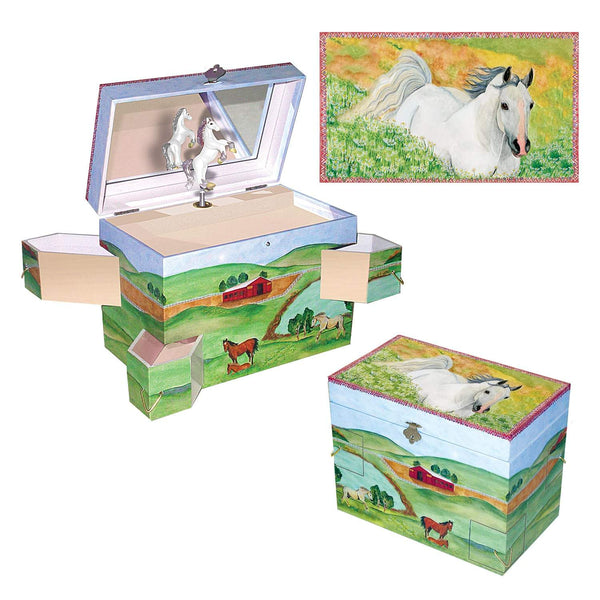 Hideaway horse music box 3-in-1 view | Musical treasure boxes and decor for kids from Enchantmints | beautiful gifts for horse lovers with white horse and farmscape in watercolor graphics