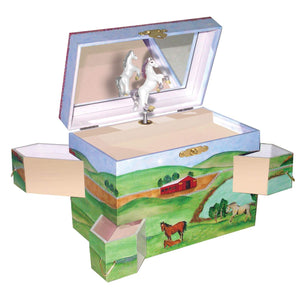 Hideaway horse music box open view | Musical treasure boxes and decor for kids from Enchantmints | beautiful gifts for horse lovers with white horse and farmscape in watercolor graphics