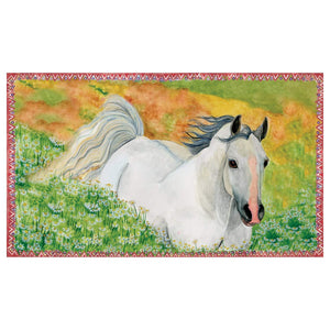 Hideaway horse music box top view | Musical treasure boxes and decor for kids from Enchantmints | beautiful gifts for horse lovers with white horse and farmscape in watercolor graphics