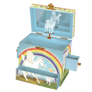 Pegasus rainbow music box open view | Musical treasure boxes and decor for kids from Enchantmints | unusual gifts for girls