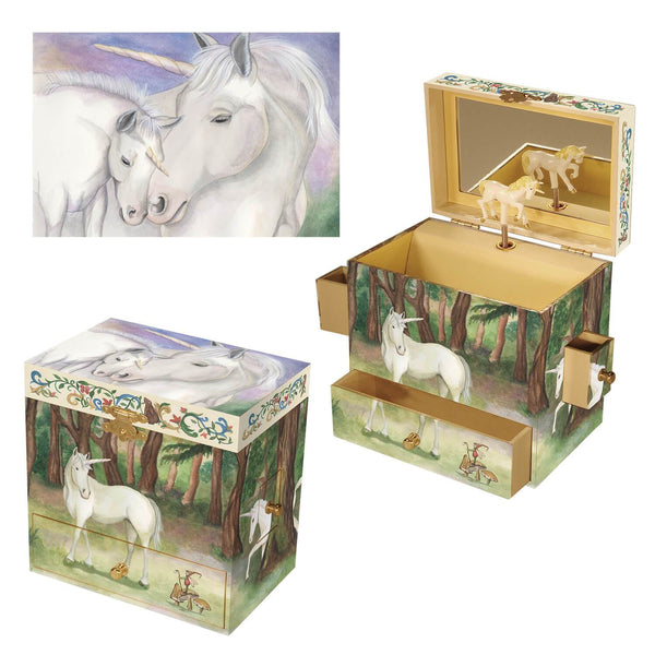 Unicorn music box 3-in-1 view | Musical treasure boxes and decor for kids from Enchantmints | unusual gifts for unicorn lovers