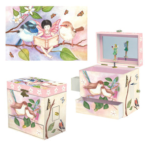 Sweet Fairy Wrens  music box 3-in-1 view | Musical treasure boxes and decor for kids from Enchantmints | unusual gifts for kids