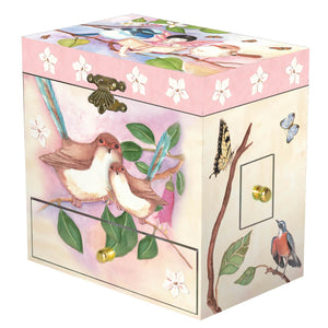 Sweet Fairy Wrens  music box closed view | Musical treasure boxes and decor for kids from Enchantmints | unusual gifts for kids