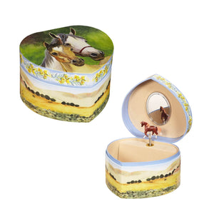 Pretty mother and foal set with ranch background 2 in 1 view | heart shaped music box with treasure storage for kids from Enchantmints | gift for horse lover child