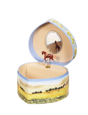 Pretty mother and foal set with ranch background open view | heart shaped music box with treasure storage for kids from Enchantmints