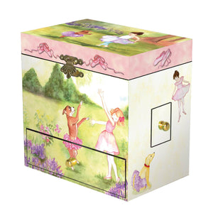 Two Times Tutu Music Box - closed view | a girl and her dog dance out in the garden. There is pink flocking inside the box, and it has 4 corner drawers| Pretty musical gifts for kids from Enchantmints
