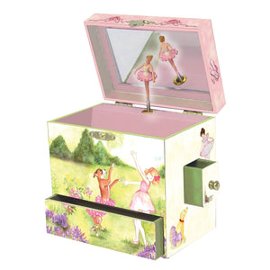 Two Times Tutu Music Box - open view | a girl and her dog dance out in the garden. There is pink flocking inside the box, and it has 4 corner drawers| Pretty musical gifts for kids from Enchantmints