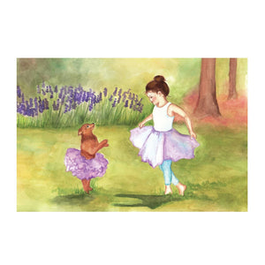 Two Times Tutu Music Box - top view | a girl and her dog dance out in the garden. There is pink flocking inside the box, and it has 4 corner drawers| Pretty musical gifts for kids from Enchantmints