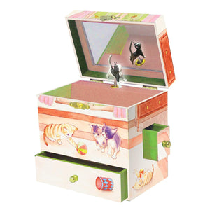Curious Kittens music box open view | Musical treasure boxes and decor for kids from Enchantmints | unusual gifts for cat lovers