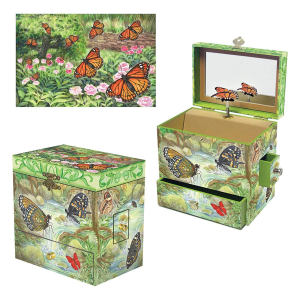 Monarch butterfly music box 3-in-1 view | Musical treasure boxes and decor for kids from Enchantmints | unusual gifts for girls