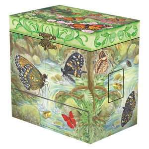 Monarch butterfly music box closed view | Musical treasure boxes and decor for kids from Enchantmints | unusual gifts for girls