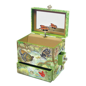 Monarch butterfly music box open view | Musical treasure boxes and decor for kids from Enchantmints | unusual gifts for girls
