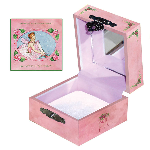 Ballet school tiny treasure box side and top view | A young ballerina puts on her shoes in preparation for her ballet lesson in this little pink box.  | Pretty unique gifts for kids from Enchantmints