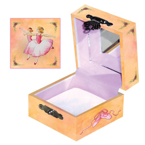 Ballerina Tiny Treasure Box Top and inside View | A sweet pair from the Corps de Ballet top this little treasure box with bright peachy tones.  | Pretty unique gifts for kids from Enchantmints