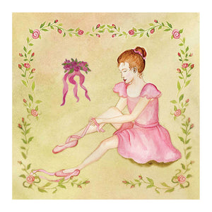 Ballet shoes tiny treasure box top view | A ballerina is putting on her ballet shoes on the top and a gentle yellowgreen tint decorates the sides | Pretty unique gifts for kids from Enchantmints