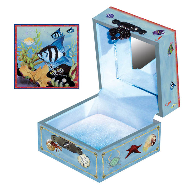 Beneath the Waves tiny treasure box side and top view | A black and white fish and his coral reef friends | Pretty unique gifts for kids from Enchantmints