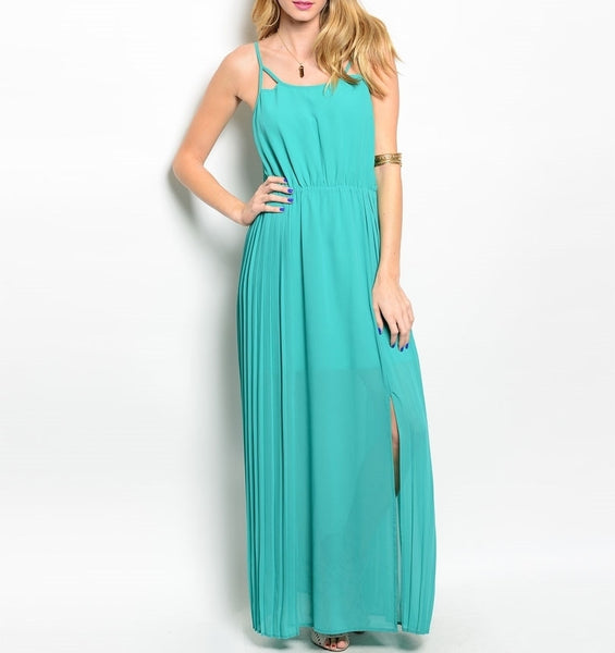 Side Slit Chiffon Maxi Dress in Green