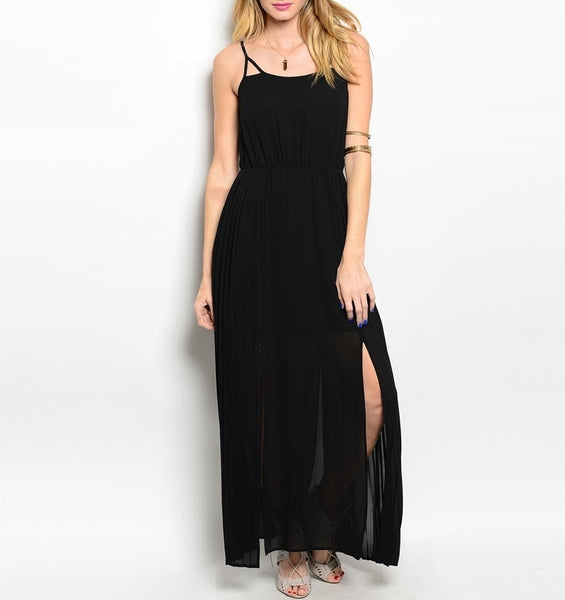 Side Slit Chiffon Maxi Dress in Black