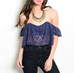 Gold Thread Lace Dropped Off Shoulder Crop Top in Blue PETITE