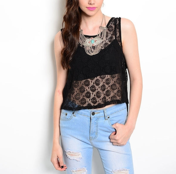 Sheer Lace Front & Solid Back Top in Black