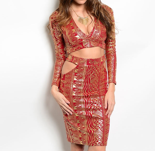 Gold Tribal Print Two Piece Dress Set in Red & Gold
