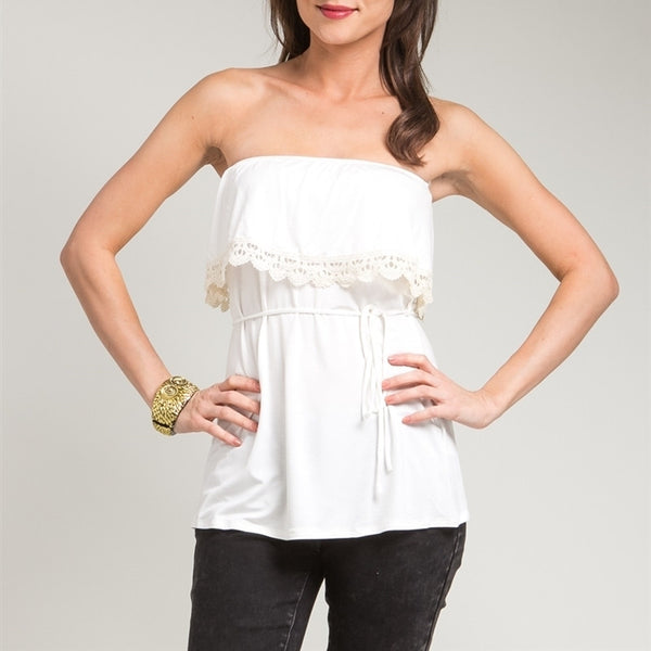 Crochet Trimmed Strapless Top in Cream