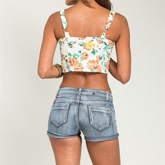 Button Down Floral Print Crop Top in White