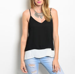 V Neckline Double Layered Chiffon Top in Black & White