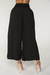 High Rise Smocked Waist Pants in Black