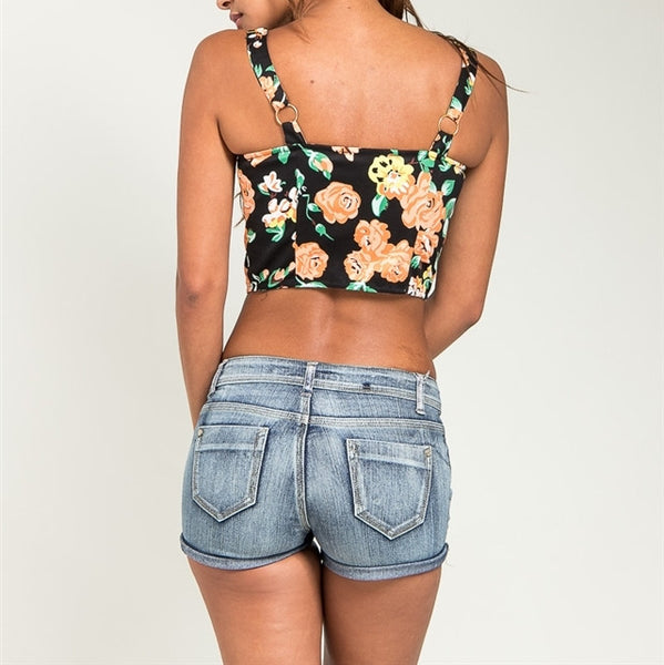 Button Down Floral Print Crop Top in Black