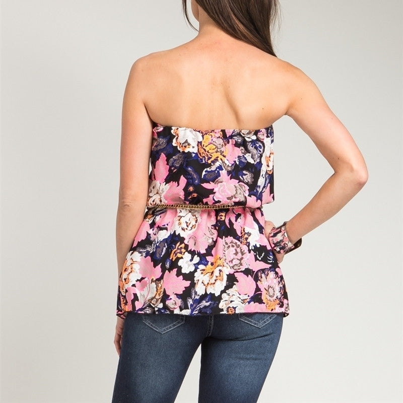 Floral Print Belted Strapless Top in Pink & Black