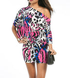 Off Shoulder Animal Print Dress in Multi-Color