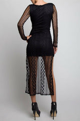 Long Sleeve Lace Hi Low Dress in Black