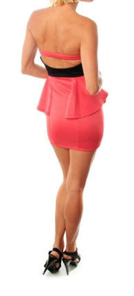Strapless Open Back Peplum Dress in Pink & Black