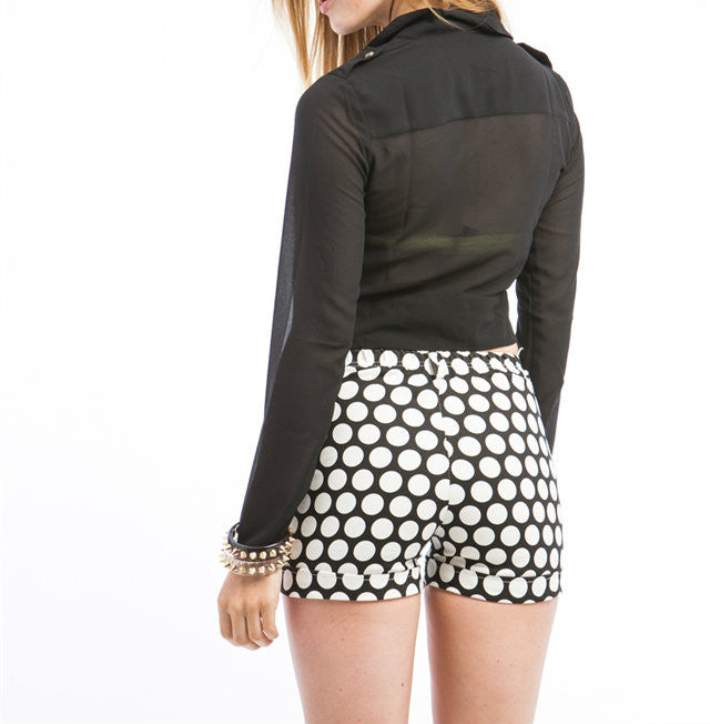Tie Front Chiffon Long Sleeve Crop Jacket in Black