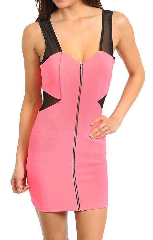 Mesh Detail Body-Con Zip-Up Dress in Neon Pink & Black