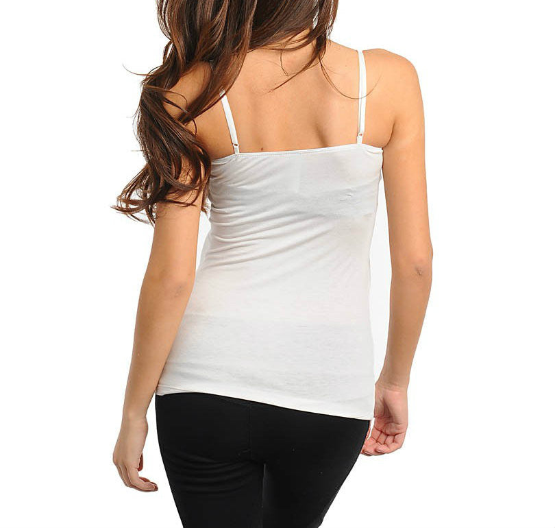 Spaghetti Basic Top with Ruffles in White