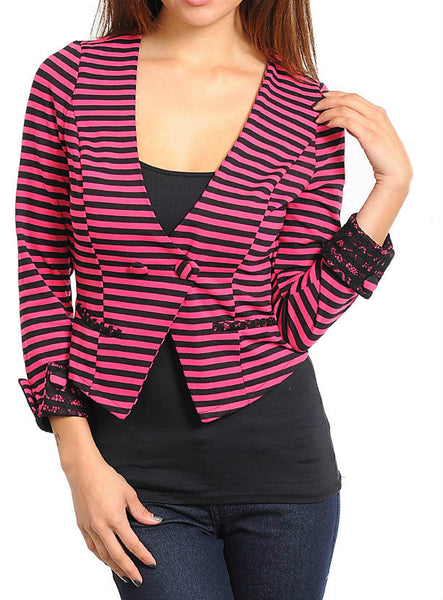 Striped Cropped Blazer in Fuchsia & Black