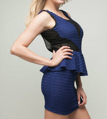 Mesh Detailed Peplum Dress in Blue