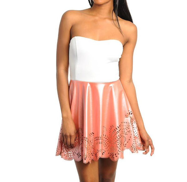 Faux Leather Skater Dress in Pink & White