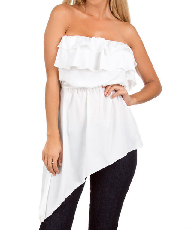 Strapless Ruffle Hi Lo Top in Ivory