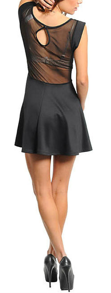 Sleeveless Mesh Skate Dress in Black
