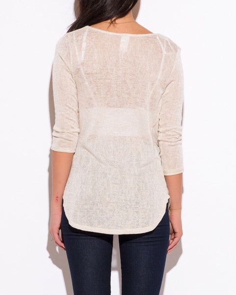 Cowl Neck Knit Tunic Top in Cream