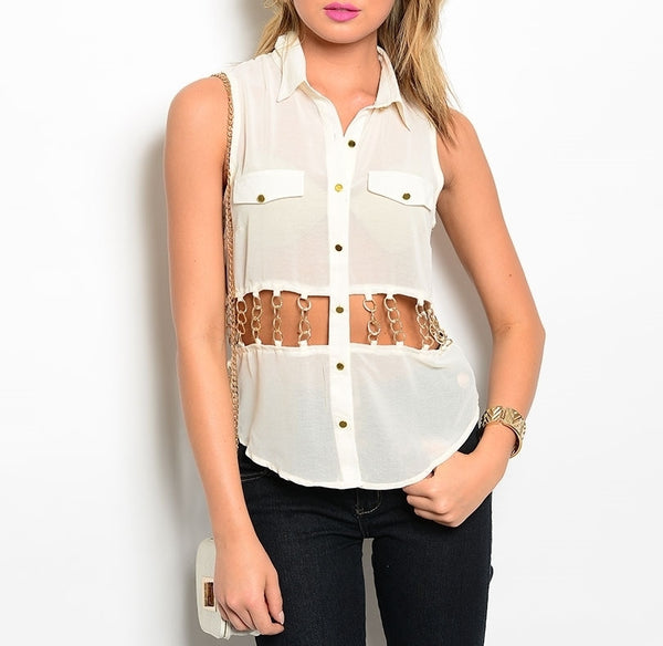 Cut Out Chain Waist Button Down Sheer Chiffon Top in Cream