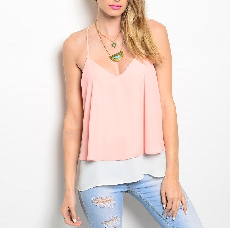 Layered V-Neck Chiffon Top in Peach