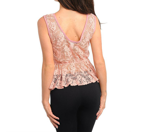 Lace Peplum top in Pink