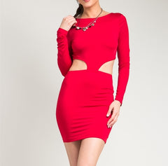 Waist Cut Out Super Stretch Bodcon Long Sleeve Dress in Deep Red