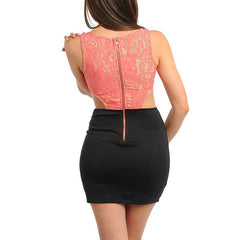 Lace Cut-Out Mini Bodycon Dress in Coral & Black