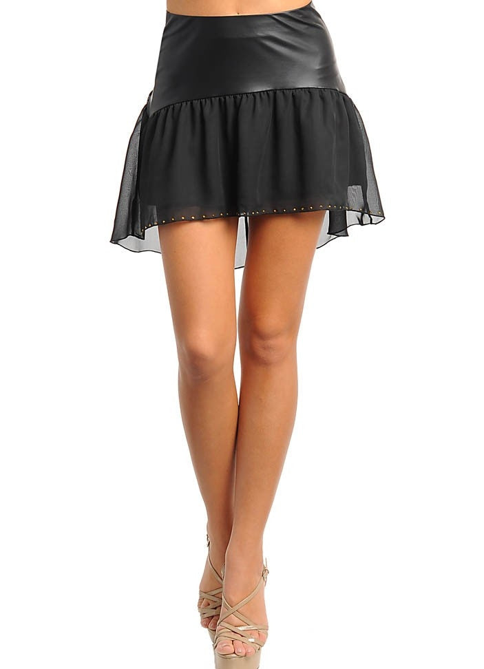 Faux Leather Chiffon Hi-Lo Flowy Skirt in Black