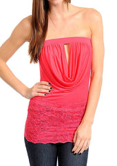 Lace Peep Hole Cowl Party Top in Pink